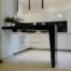 kuchnia czarno-biała, barek nowoczesny, biały połysk, czarny połysk