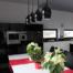 kuchnia czarno-biała połysk, w połysku, czarne blaty, Simo